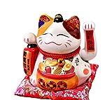 Maneki Neko Winkekatze Glückskatze Glücksbringer Winkende Katze aus Porzellan,Weiß, 2