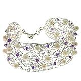 Franki Baker 925 Sterling Silver Fine Woven Wire Cuff Bracelet with Amethysts & Pearls Bild