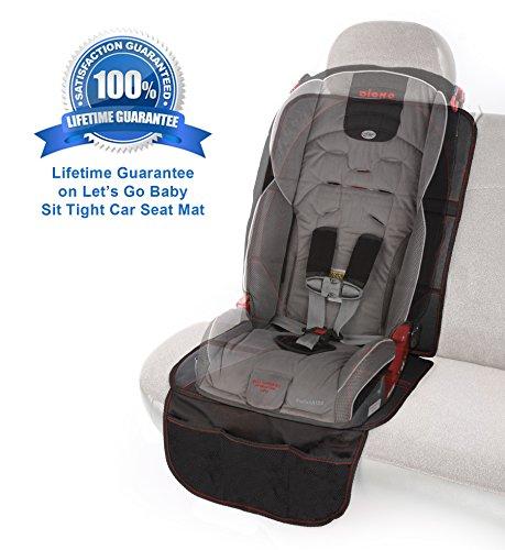 Let's Go Baby Protector para asiento de coche, con bolsillos de almacenamiento - grande, antideslizante, duradero