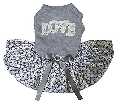 petitebelle Love grau Baumwolle Shirt Bling Silber Fisch Waage Mermaid