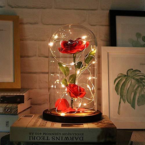 KOBWA Die Schöne und Das Biest Verzaubert Rose, Eleganten Glaskuppel mit Weiches LED Leuchtet Pine Base, Romantisch Geschenke Wohnkultur für Geburtstag Valentinstag Muttertag Jahrestag