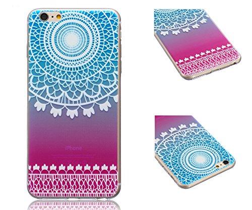 ZeWoo TPU Schutzhülle - BF016 / Baum und Natur - für Apple iPhone 6 Plus (5,5 Zoll) Silikon Hülle Case Cover BF004 / Blau Muster+Lila