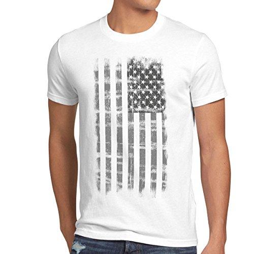 style3 USA Vintage T-shirt Herren US Stars Stripes Flagge Fahne, Größe:XXL;Farbe:Weiß