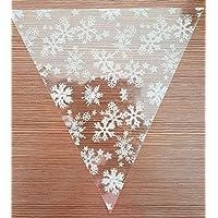 MHA UK 40 white snowflake cellophane sweet chocolate candy cones festive xmas