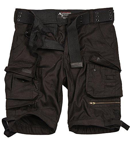 A. Salvarini Herren Designer Cargo Shorts Cargoshorts Kurze Hose Gürtel AS079 [AS-079-Schwarz-W33]