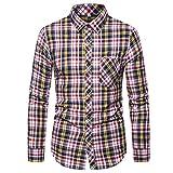 Heetey Hemd Top Trachtenhemd Slim fit Herren kariert Hemd Freizeithemd Langarmhemd Hemd Beiläufige dünne Plaid-Lange Hülsen-Taschen-Hemden der Männer Oberseiten-Bluse