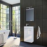 Planetmöbel Badmöbel Set Gäste WC Gäste Bad Waschtischunterschrank Spiegel mit LED Leuchte Waschbecken 40 cm (Weiß Hochglanz)