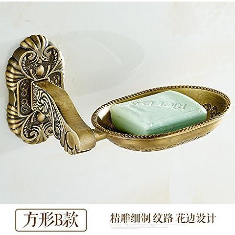 SMJGD Singoli alla moda moderno minimalista retrò continentale portasapone portasapone sapone ripiano deluxe cinese intagliato prodotti da bagno 5 , Kim ventole di appendere asciugamani di spandex square B, facile da installare