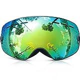 Skibrille Kinder ,COPOZZ G3 Ski Snowboard Brille Brillenträger Snowboardbrille Schneebrille Verspiegelt - Für Junior Jungen Mädchen Baby Teenager - 3 4 5 6 7 8 9 10 11 12 Jahre - OTG Anti-UV Anti-Fog (Schwarz)
