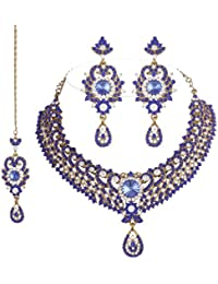 I Jewels Traditional Gold Plated Bridal Jewellery Set With Maang Tikka For Women (Blue)(M4023Bl)