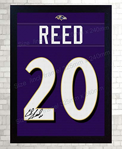SGH SERVICES T-Shirt Ed Reed Baltimore Ravens NFL signiert 100% Baumwolle gerahmt -
