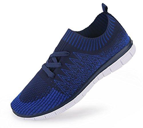 Vibdiv Scarpe da ginnastica e da corsa da uomo, Sneakers leggere con lacci in maglia Blue