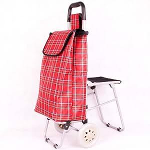 Caddie/chariot avec le strapontin - rouge de plaid