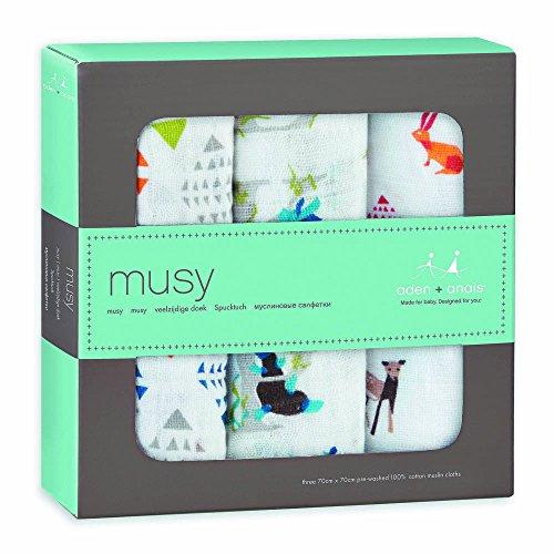 aden + anais 7219 - Mulltücher Classic Musy 3er Pack Paper Tales, 70x70cm
