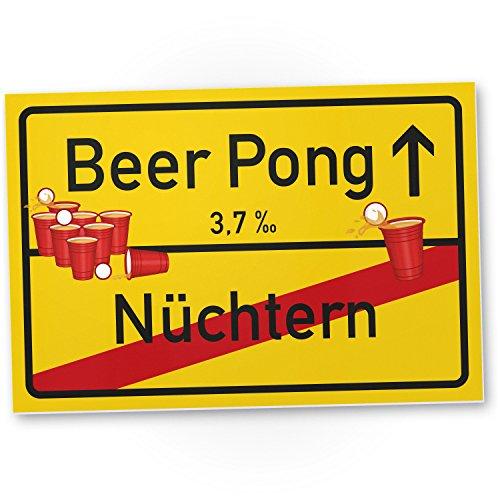 Beer Pong Schild – Ortsschild, Geschenkidee lustiges und kleines Geschenk Einweihungsfeier Studenten, Mitbringsel Einweihungsparty WG-Party, Party Deko – Wanddeko, Mallorca-Party Zubehör Trinkspiele