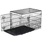 HENGMEI Hundekäfig Transportkäfig Drahtkäfig Transportbox Hundebox mit 2 Türen für Welpen, Hunde, Katzen Klappbar Metall Gitterbox (XL, 107X74.5X64.8 cm)