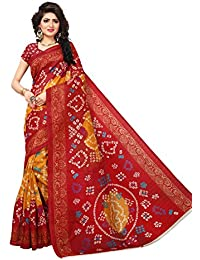 Cloveo Printed Bhagalpuri Silk Saree With Blouse Piece For Women In Red Yellow Color