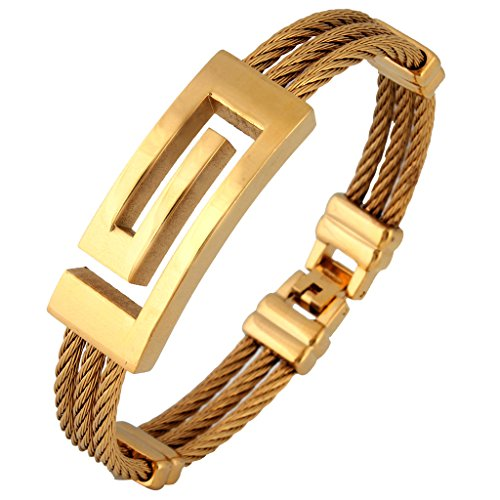 The Jewelbox Italian Designer 18K Gold Plated Surgical Stainless Steel Bracelet Kada For Men  available at amazon for Rs.943