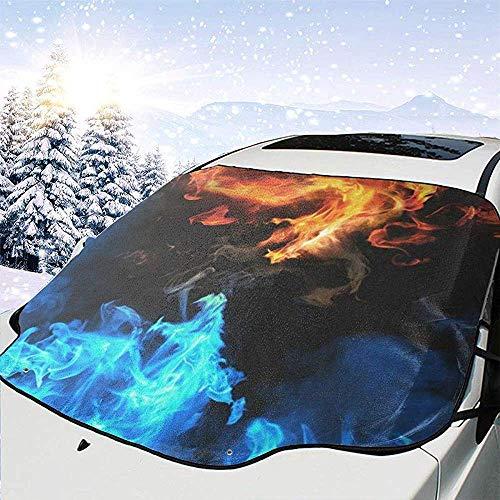 MaMartha Windshield Snow Cover Blu Contro Rosso ardente Drago Auto Copertura Parabrezza Copertura Neve Protezione antigelo tergicristallo tergicristallo Adatto per Auto,SUV e Camion,147 * 118 cm