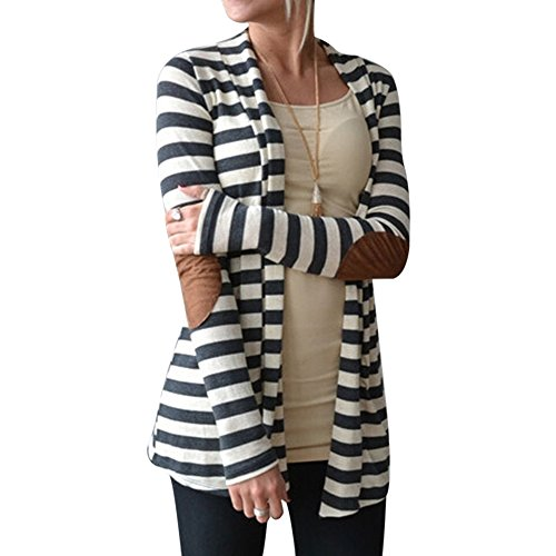 Wenyujh Femmes Cardigan Manche Longue en Rayure Élégant Fashion Tops Shirt Veste Ouvert Gilet Mode Casual Printemps Automne Gris