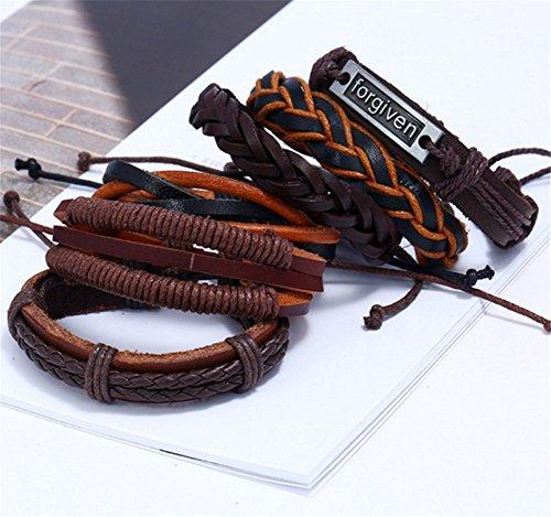 70a28bedcc5a Scrox 6 piezas Personalidad retro tejida pulsera de traje de cuero multicapa