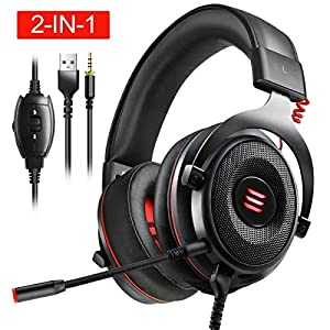 EKSA Gaming Headset PS4/XBox One, Virtual 7.1 & 3,5mm Surround Sound 2 in1 Kabelgebundenes Over-Ear Gaming Kopfhörer mit…