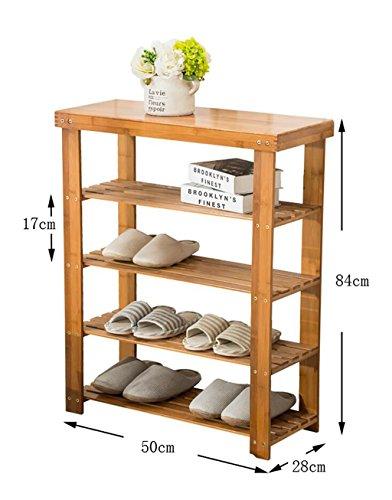 Étagères en bambou étagères en bambou étagères à bas prix en bois massif en bois massif étagères économiques étagères économiques salon de la maison armoire à chaussures ( Couleur : C , taille : 50 cm )