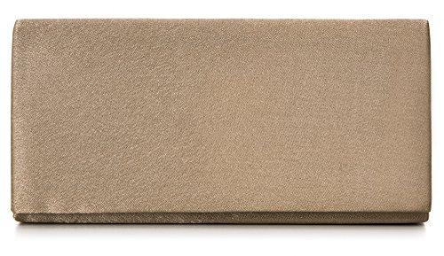 VINCENT PEREZ, Clutch, Abendtaschen, Umhängetaschen, Unterarmtaschen aus Satin, mit Kordel (120 cm), 22x11x3,5 cm (B x H x T), Farbe:Taupe - Strass Beige Handtasche