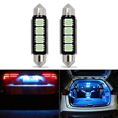 42mm Festoon LED Ampoules,HSUN 12V C5W 6411 239 569 578 212-2 2112 2122 214-2,Canbus Sans Erreur Pour Lampe de Lecture Dôme Intérieur de Voiture,Paquet de 2,Glace Bleue