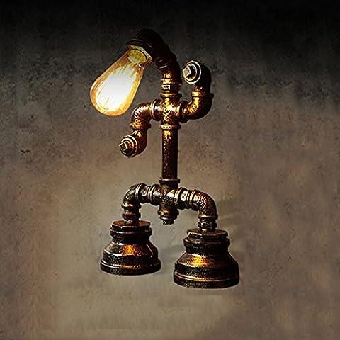 Ywyun Eisenrohre Roboter-Lampen, LED dimmbare retro dekorative Tischlampen, American Bar Persönlichkeit Industrie Loft Schlafzimmer Wohnzimmer Energiesparlampen