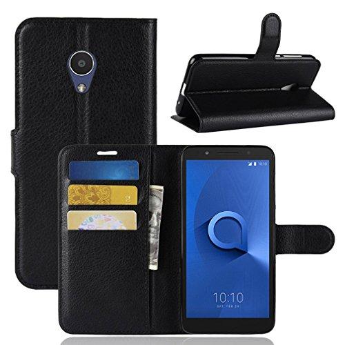 LMFULM® Hülle für Alcatel 5059D 1X (5,3 Zoll) PU Leder Magnet Brieftasche Lederhülle Litschi Muster Standfunktion Ledertasche Flip Cover für Alcatel 5059D 1X Schwarz
