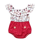 bobo4818 Weihnachten Kid Baby Mädchen Xmas Schwester Kleidung Deer Romper Lace Party Dress Outfits for 1T (0-6 Months, Rot)