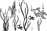 GRAZDesign 650035_30_070 Wandtattoo Fische im Ozean Aquarium | Badezimmer-Aufkleber für Fliesen/Wände / Spiegel | WC/Toilette (46x30cm // 070 schwarz)