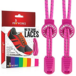 Proworks No Tie Laces   Elastic Easy Tie Shoe Laces for Adults and Kids Running Shoes - Pink