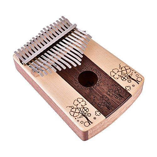 Dilwe 17 Key Kalimba Daumenklavier, Kleeblatt Muster Finger Klavier mit Tuning Tool Aufkleber Aufbewahrungstasche -