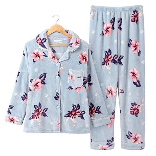 Yshuiyi Pyjamas Herbst Und Winter Mittleren Alters Pyjama Winter Korallenroten Vlies Dicken Mittleren Alters Mutter Und Frau Flanell Hause Service ()