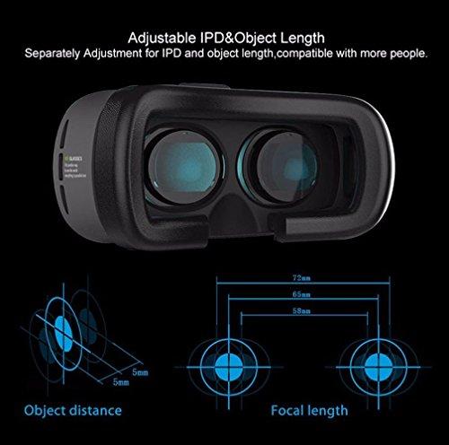 UBMSA- Spielzeug VR Brille/3D VR Virtual Reality Brille Headset 3D-VR-Brille für 4.7 ~ 6.0 Zoll Smartphones für 3D-Filme / Spiele, besser als Google Karton, iPhone5 / 6 / 6S mit Kopfhalterung (2 Generation )