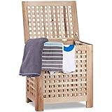 Relaxdays Coffre à linge en noyer avec couvercle sac amovible 70 Litres panier à linge bois corbeille, nature - HxlxP: 55,5 x 52,5 x 39,5 cm