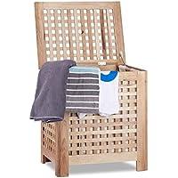 Relaxdays – Cesta con tapa para la lavandería, hecho de nogal, Volumen 70 l, 55.5 x 52.5 x 39.5 cm, caja de almacenamiento, bolsa extraíble, color natural