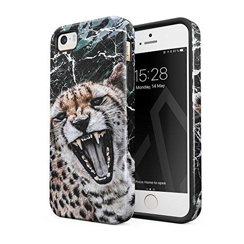 Burga cover iphone 5 / 5s giaguaro leopardo jaguar savage wild cat moda belle robusto resistente agli urti ed a doppio strato + custodia protettiva in silicone case