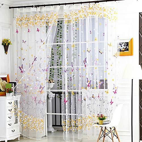 Upxiang Fein Schmetterling Fenstervorhang Transparent Voile Vorhang Kräuselband mit Ösen Gardine Wohnzimmer Dekoschals Kinderzimmer Fenster Dekoration 1 Stück 270cm x 100cm
