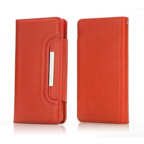 EKINHUI Case Cover Abnehmbare 2 in 1 Style PU Ledertasche Solid Color Litchi Skin Brieftasche Beutel Shell Cover für iPhone 7 Plus ( Color : Purple ) Orange