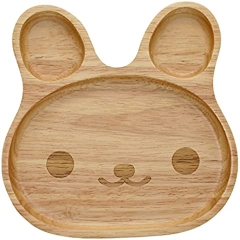 Geeklife® Cute Baby Rubber Wood Plate,Handcraft Kid Dinner Plate,Creative Smiling Face Serving Platter,Reusable,Safe and Eco-friendly by Geeklife