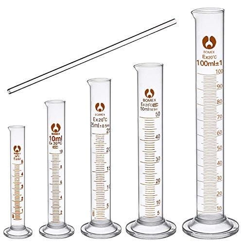 cococity Glas Meßzylinder Set Graduierten Glasmesszylinder Messung Werkzeuge Laborzylinder mit Glasstab 5ML 10ML 25ML 50ML 100ML (Messzylinder Glas)