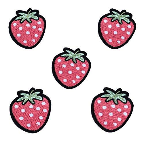 VALYRIA Flicken Aufnäher Applikation Aufbügelbilder Rosa Erdbeere 5Stücke