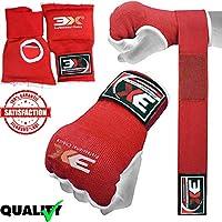 3guantes de deporte, gel, con sujeción envolvente, para boxeo, artes marciales, boxeo UFC, etc., color rojo, tamaño large
