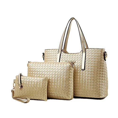 AlwaySky Damen-Handtaschen-Set aus PU-Leder mit geflochtenem Design, 3-teiliges Set, Gold - gold - Größe: 33 EU