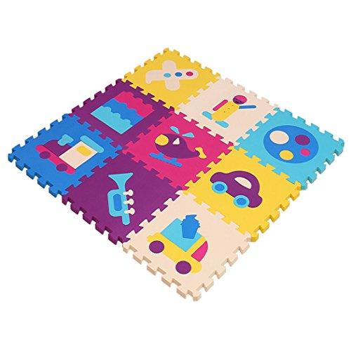 MQIAOHAM Soft Foam Spielmatte Interlocking EVA Soft Puzzle Schaum Baby Kind Spielfläche Yoga Trainingsmatten (30x30x1cm, 9x Spielmatten) Transport Spleißen Bodenmatte P024G3010