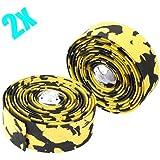2x Envoltura de cinta de manillar de corcho de bicicleta + 2Bar Plug Amarillo.