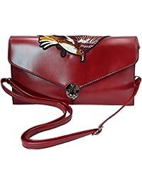 Felice Women Leather Envelope Clutch Handbag Eagle Embroidery Wristlet Evening Shoulder Bag Red